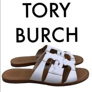 TORY BURCH WHITE BROWN SANDALS SIZE 6.5